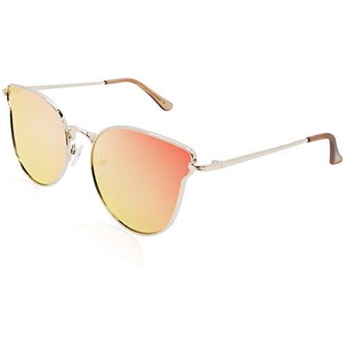 FaceWear Unique Designer Women Sunglasses Butterfly Cateye Metal Frame UV400 Eyewear FW1007 C2 gold