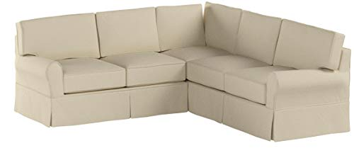 Stone & Beam Carrigan Modern Sectional Sofa Couch with Slipcover, 103W, Natural