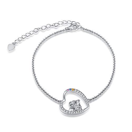 (BEILIN Mother Daughter Jewelry - 925 Sterling Silver Lucky Elephant Love Heart Pendant Necklace Bracelet for Women Girls (Bracelet))