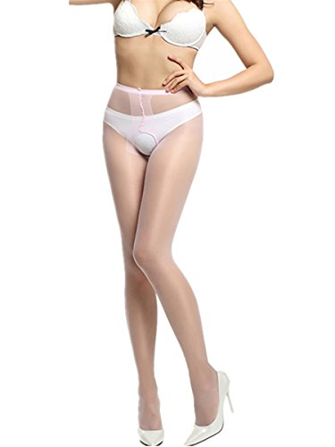 E-Laurels Women's Sexy Silky Crotchless Sheer High-waist Sandalfoot Pantyhose Silky Stockings Pink (Pink Spandex Sheer Stockings)