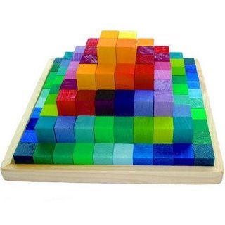 Grimm's Small Stepped Pyramid of Wooden Building Blocks, 100-Piece Learning Set in Storage Tray (2x2cm Size)