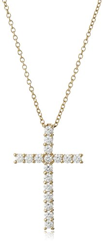 Yellow-Gold Plated Sterling Silver Cross Pendant Necklace set with Swarovski Zirconia (2 cttw), 18