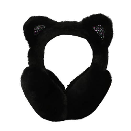 Vovomay Winter Warm Women Headbands-Cartoon Cat Ears Design Windproof Warm Adjustable Earmuffs (Black)