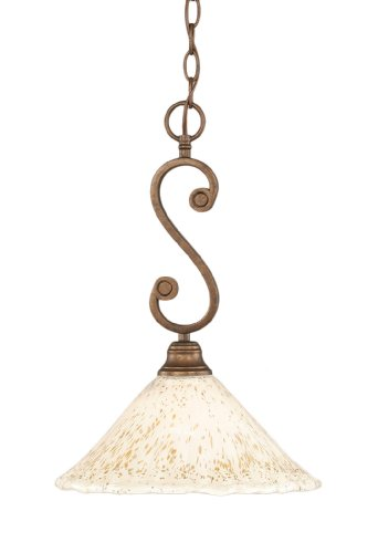 Toltec Lighting 50-BRZ-702 Curl Mini-Pendant Light Bronze Finish with Gold Ice Glass, 12-Inch