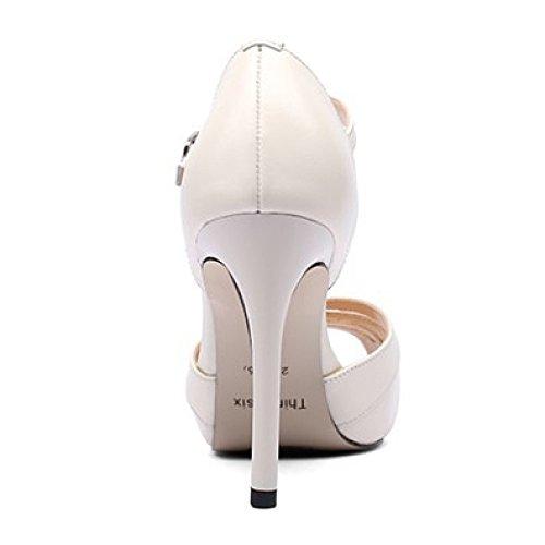 Shoes Sandals Strap Beige Summer Peep Women's Pumps Beige Sandals High Wedding Toe Ankle Platform Dress heeled Court Black xz6xqRwC