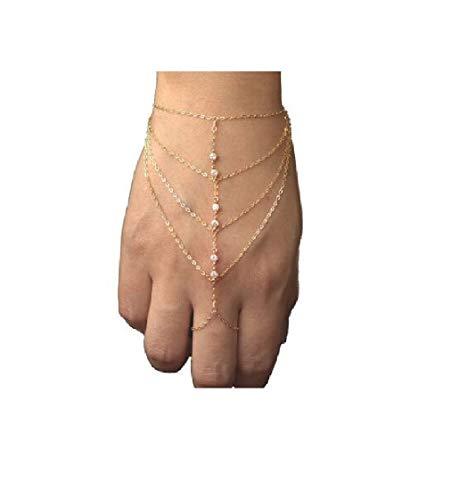 Pop Celebrity Chain Tassel Crystal Bracelet Slave Finger Ring Hand Harness