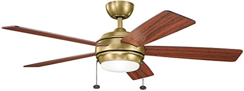 Kichler 300173NBR 52 Inch Starkk Ceiling Fan, Pull Chain, Natural Brass Finish with Medium Cherry/Dark Cherry (Antique Natural Brass Finish)