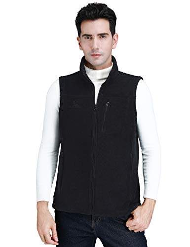 Mens Full Zipper Vest - CAMEL CROWN Fleece Vest Men Women Full-Zip Sleeveless Jacket Plus Size with Pocket Lightweight Casual Gilet(Black,Small)