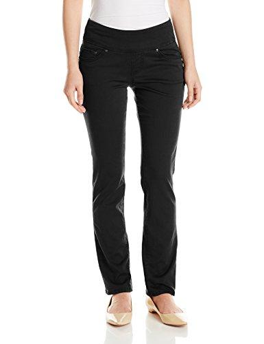 Jag Jeans Women's Petite Peri Straight Pull on Jean, Black Twill, 8P