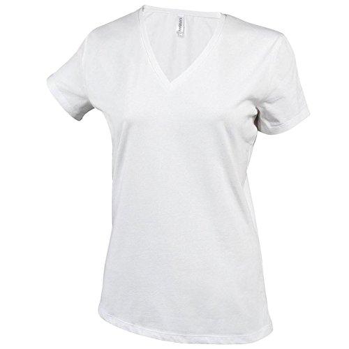 New de manga corta para mujer corte femenino para adaptarse al cuerpo V-cuello de ropa Casual T-camiseta de manga corta traje de neopreno para mujer blanco
