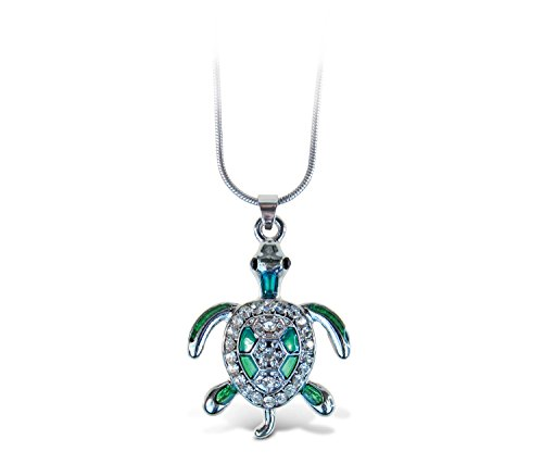 (Puzzled Green Sea Turtle Necklace, 18 Inch Fashionable & Elegant Silver Chain Jewelry with Rhinestone Studded Pendant for Casual Formal Attire Sea Life Themed Girls Teens Women Fashion Neck Accessory)