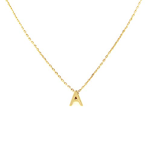 Me Plus Petite Initial Letter Alphabet Pendant Charm Gold Dipped Necklace Gold Silver Rosegold (23 Letters) (A - Gold)
