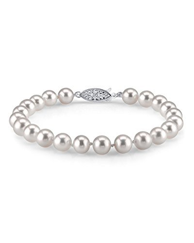 - THE PEARL SOURCE 14K Gold 7-8mm AAA Quality Round White Freshwater Cultured Pearl Bracelet for Women