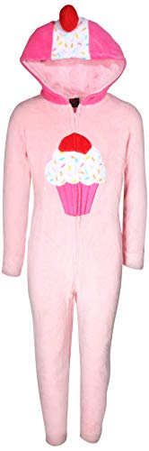 dELiA*s Girls Coral Fleece Onesie Pajamas with Character Hood, Pink Cupcake, Size 4'