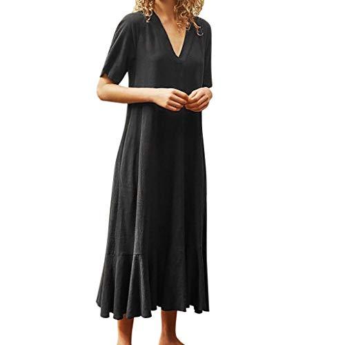 BODOAO Women's Loose Short Sleeve Long Dress V-Neck Casual Mid-Calf Summer Dress Black