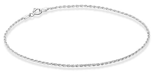 MiaBella Sterling Silver 1.5mm Solid Diamond-Cut Braided Rope Chain Anklet Jewelry for Women Teen Girls 9, 10 inch 925 Italy (Sterling-Silver, 9)