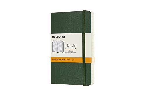 Moleskine Notebook, Pocket, Ruled, Myrtle Green, Soft Cover (3.5 x 5.5)