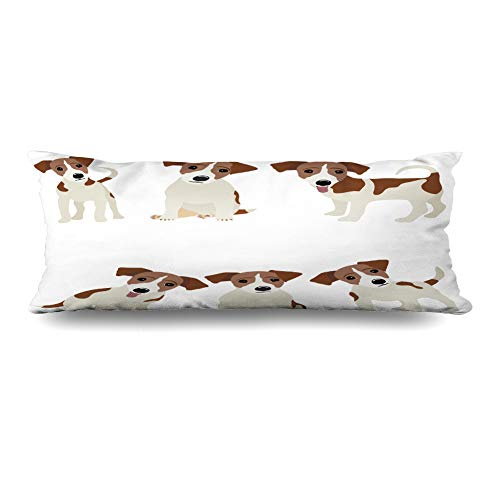 Ahawoso Body Pillows Cover 20x54 Inches Pet Russel Jack Russell Terrier Dog Cute Funny Avatar Puppy Design Decorative Zippered Pillow Case Home Decor Pillowcase
