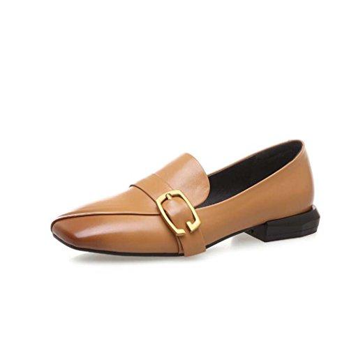 Zapatos de Mujer Square-Toe Hebilla de Metal Decoración Zapatos de Tacón bajo Negro/Marrón Talla 34-39 (Color : Marrón, Tamaño : 38)