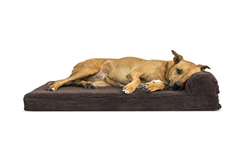 (FurHaven Pet Dog Bed | Deluxe Orthopedic Faux Fleece & Corduroy Chaise Lounge Sofa-Style Pet Bed for Dogs & Cats, Espresso, Large)