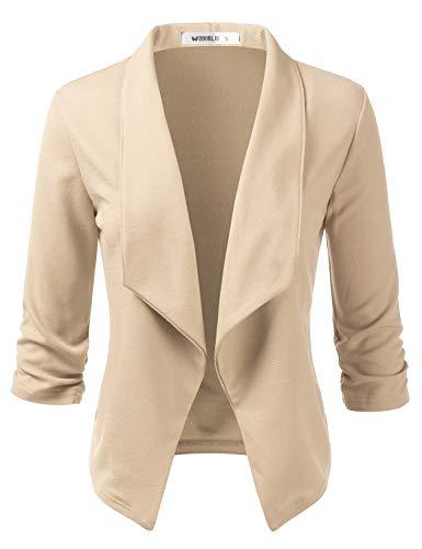 CLOVERY Women's 3/4 Sleeve Cotton No-Buckle Blazer Jacket Suits Stone 3X Plus Size