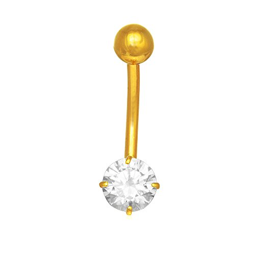 JewelStop 14k Solid Gold Yellow Belly Button Round CZ Navel Ring Body Jewelry, 1.05gr. ()