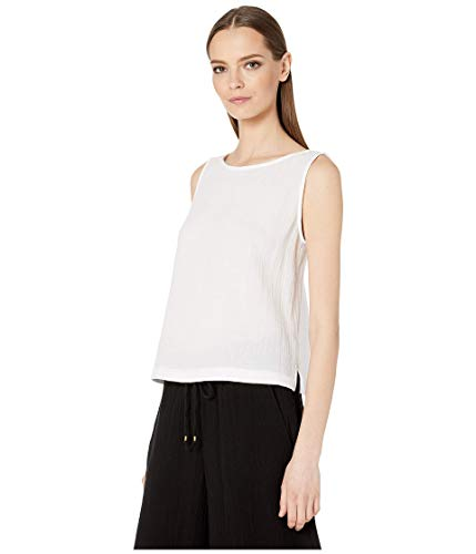 Eileen Fisher White Bateau Neck Shell