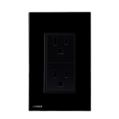 LIVOLO Black Duplex Receptacle 15A Standard Decorative Electrical Wall Outlet with Tempered Glass Panel,AC 110~220V, US Standard Wall Powerpoints Without Plug, VL-C5C2US-12
