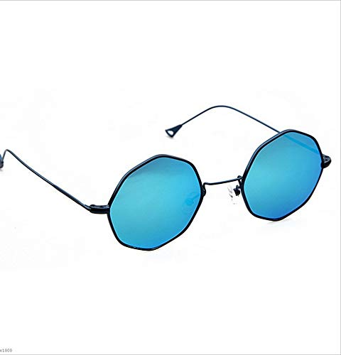 Soleil Femmes Couleur polygone UV en Style Lunettes Lunettes Protection des Bleu pour de Plage de de rétro Cadre de Bleu de Plein métal Exquis Flyci 0BH4wqw