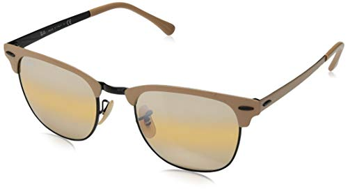 Ray-Ban RB3716 Clubmaster Metal Square Sunglasses, Black & Matte Beige/Yellow Gradient Mirror, 51 mm (Ray-ban Clubmaster Amazon)