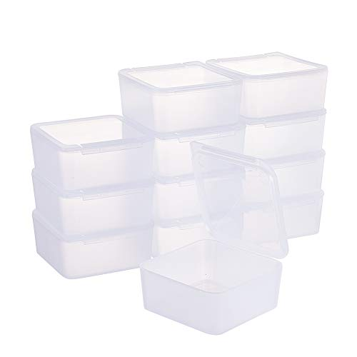 BENECREAT 12 Pack Square Frosted Clear Plastic Bead Storage Containers Box Case with Lids for Items,Pills,Herbs,Tiny Bead,Jewerlry Findings, and Other Small Items - 2.56x2.56x1.18 Inches