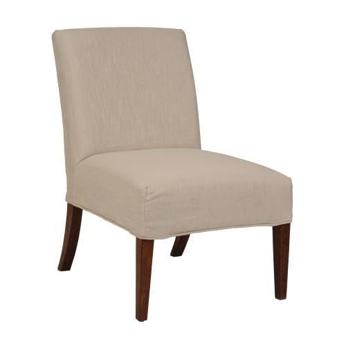 Bailey Street 6081274 Lotus - Slipper Chair Cover, Dark Walnut Finish with Off-White Fabric Shade (Slipper Chair Covers compare prices)