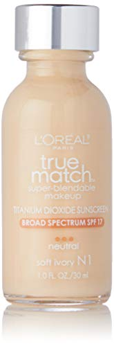 L'Oreal Paris Makeup True Match Super-Blendable Liquid Foundation, Soft Ivory N1, 1 fl. oz.