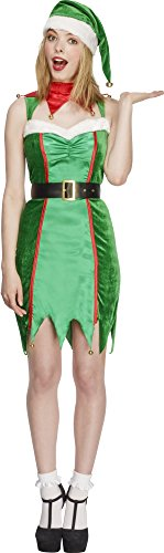 Elf Costume Uk (Fever Women's Naughty Elf Costume, Multi,)