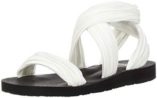Skechers Cali Women's Meditation-Still Sky Flat Sandal,white,8 M US