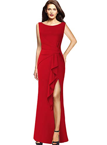 VFSHOW Womens Elegant Ruched Ruffle Split Formal Evening Party Maxi Dress 140 RED XS ()