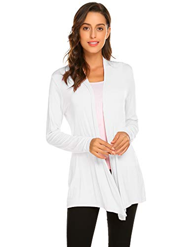 Newchoice Womens Cardigan Sweaters Lightweight Long Sleeve Loose Casual Open Front Cardigans Dusters Plus Size (White, 3X)