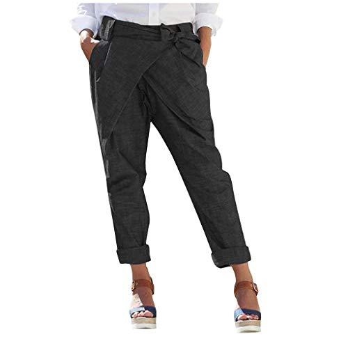 LENXH Women's Pants Solid Color Pants Linen Trousers Pocket Strap Pants Casual Pants Black Black 17' Zipper Tie
