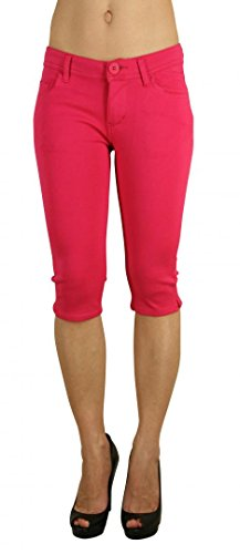 Colored Shorts Slim Soft Stretch Bermuda - Sexy, Cute Multiple Colors - Shade Fuschia - Waist M