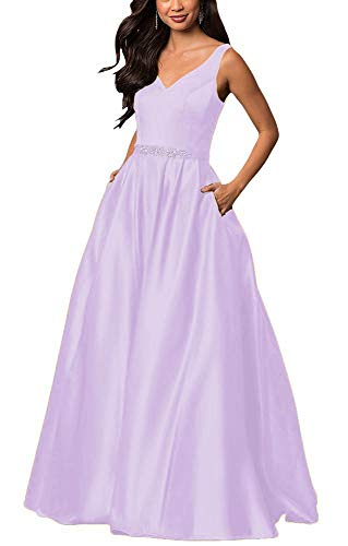 (yinyyinhs Women's Prom Dresses Off The Shoulder Evening Dresses Satin Beaded Party Dress A-Line Long with Pocket Formal Gown Size 4 Lilac)