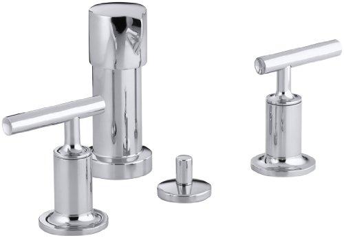 KOHLER K-14431-4-CP Purist Bidet Faucet with Vertical Spray and Cross Handles, Polished Chrome (Vertical Brass Bidet Spray)