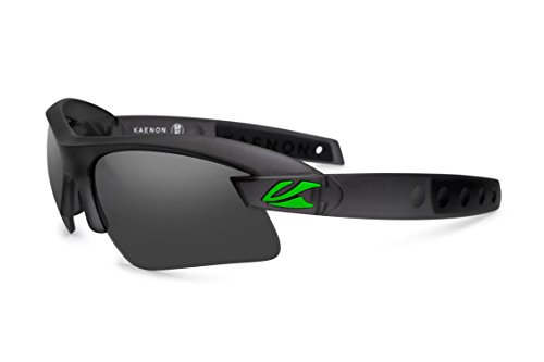 Kaenon X-Kore Polarized Sunglasses Graphite/Green Logo/Grey 12-Polarized, One Size - - Polarized Logo