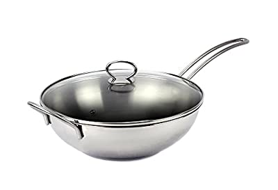 Excelife Jb Cookware Stainless Steel Induction Wok Pan with Tempered Glass Lid