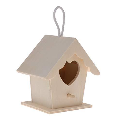 (JohnnyBui - Bird Nest Natural Wood House DIY Creative Heart Shaped Parrot Parakeet Hanging -M15)
