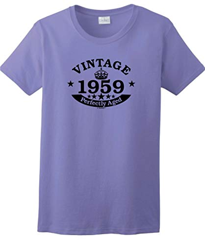 (60th Birthday Candles Cards 60th Birthday Gift Vintage 1959 Perfect Aged Crown Ladies T-Shirt XL Violet)