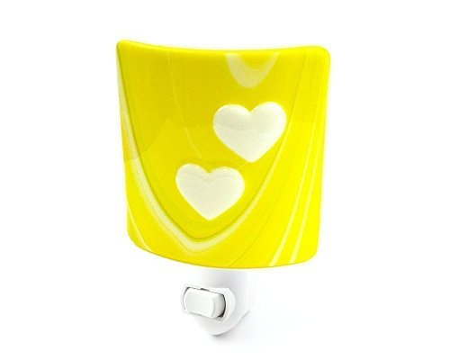 Lemons Accent Lamp - Decorative Night Light Yellow Stained Glass and White Hearts, Handmade in the USA by Fashion Glass