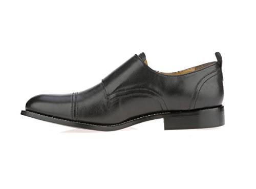 Strap Leather Buckle Men's Liberty Double Toe Shoes Black Cap Monk Dress nPTXnqp