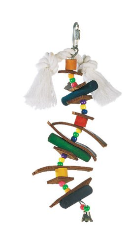 Living World Small Skewer with Wood Pegs, Beads, Leather Strips & Bell