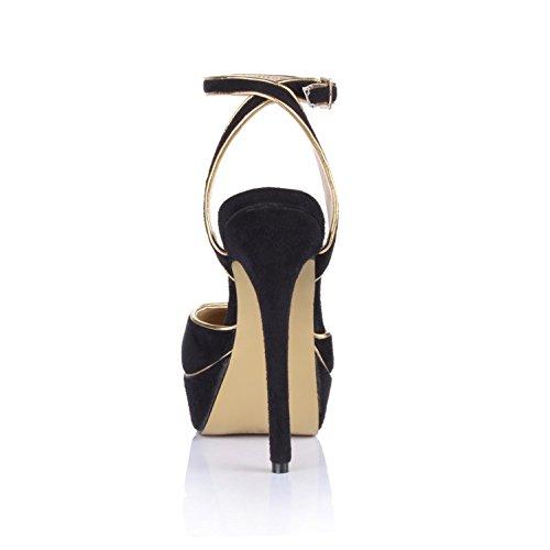 Rubber Elastic Summer 4U High Velvet Black Heels Platforms Sole 3CM Round Best Pumps toe 14CM Sandals Women's IwAqItO
