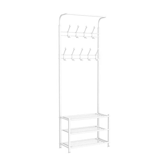 Yaheetech Fashion Heavy Duty Garment Rack with Shelves 3-Tier Shoes Rack,Coat Rack with Hanger Bar White - High quality: Constructed of powder coated metal tube, antirust and durable, won't be out of shape, strong and sturdy. 18 hooks coat rack: 18 hooks in 4 levels can be used for you and your kids' clothes, bags, hat, purse and handbags in different height and type. 3-tier shoe rack: 3-tier ample metal shelves provided to organize various size shoes , shoe boxes, and storage boxes. 3-tier shoe rack is suitable for keeping your shoes neat and organized. You can also storage your handbags on the top shelf. - hall-trees, entryway-furniture-decor, entryway-laundry-room - 31Sf4eD%2BzIL. SS570  -